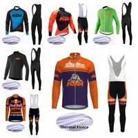 jersey térmico de ciclomotor de lã de inverno venda por atacado-2019 equipe KTM roupas de ciclismo de Inverno de manga longa camisa de ciclismo Definir velo térmico mountain bike roupas mtb bicicleta sportswear K020125
