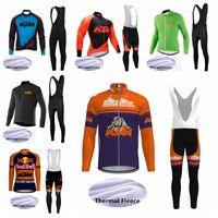 ropa deportiva de ciclismo al por mayor-Equipo 2019 KTM Ropa de ciclismo de invierno Jersey de ciclismo de manga larga Conjunto de ropa de bicicleta de montaña de lana térmica Ropa de bicicleta de mtb K020125