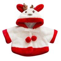 abrigo de bebé de venado al por mayor-Los niños de los bebés Prendas de dibujos animados de Navidad ciervos con capucha capa de invierno ropa de abrigo Coat