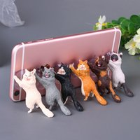 soporte para teléfono móvil de gato al por mayor-Soporte para teléfono lindo gato Accesorios soporte de resina soporte para teléfono móvil de stands Sucker Sucker tabletas turística figuras de acción de la muñeca Smartphone Holder