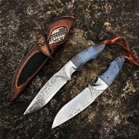 Wholesale full tang fixed blade for sale - Group buy 1Pcs New Fixed Blade Survival Straight Knife VG10 Damascus Steel Blade Full Tang Steel Enony Handle With Leather Sheath
