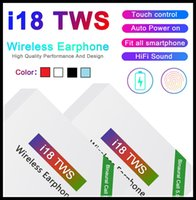 Wholesale used headset resale online - i18 TWS Touch5 wireless bluetooth headphones support pop window Stereo Earphones earbuds Auto Power ON Auto paring Touch Using