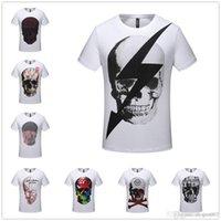 camisa de la cabeza del cráneo 3d al por mayor-Mejores Camisetas para hombre Diseño de cráneo Tops ocasionales Cabeza de cráneo inconformista Camiseta impresa Camisetas Camisetas 3D Streetwear Poleras Hombre Unisex