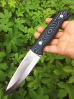 cuchillas de hoja fija de alta calidad al por mayor-[BROTHER F005] 61HRC Cuchilla de hoja fija D2 Cuchillo Bushcraft Cuchillos Recto Táctico Caza Camping Herramienta de alta calidad EDC