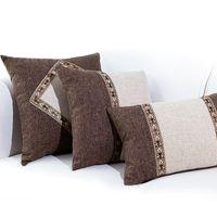 vintage retro pillowcases toptan satış-Vintage kahverengi keten kumaş patcwork jakarlı yastık örtüsü yastık kılıfı Çin tarzı retro yastık kılıfı bel yastık örtüsü özel