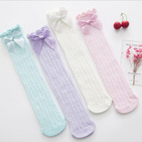 Wholesale cute tights for baby girls resale online - Baby Cute Lace Baby Socks Toddler Girls Cotton Knee High Socks Bowknot Tights Leg Warmer For Kids