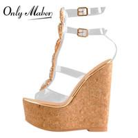 Wholesale sandals gems resale online - Onlymaker Women Ankle Strap Peep Toe Buckle Cutout Gem Clear Transparent Strip Rhinestones Wedge PVC Sandals