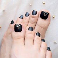 ongles français orteils achat en gros de-Noir mat Français faux faux ongles des orteils givré presse sur autocollant 3D Punk Rhinstones main Toe Nails Conseils pied usure Nail Tip