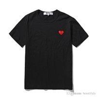 kadınlar beyaz tişörtler toptan satış-Yeni For Men Kadınlar commes Tshirts ile Pamuk Kısa Kollu Des KAPALI Tatil Nakış Kalp Emoji Garcons Beyaz Giyim Tshirts Boyut