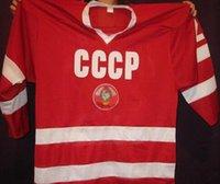 jérsei russo xxl venda por atacado-Personalizar Vintage Vladislav Tretiak # 20 URSS CCCP Russo Hóquei Jersey Bordado Costurado ou personalizado qualquer nome ou número retro Jersey