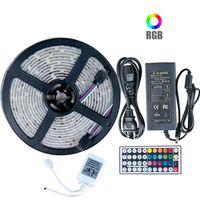 led güç kaynağı uzaktan kumanda toptan satış-Oturma odasında + Güç Kaynağı + IR Uzaktan Kumanda için 5050 RGB LED ışık şeridi DC 12V 5M 10M IP20 IP65 su geçirmez led lamba