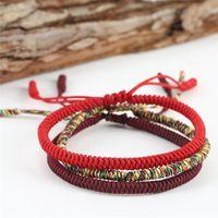 pulsera de nudo negro al por mayor-Romad budista tibetano encanto afortunado Hilo Rojo cuerda pulseras brazaletes Para Nudos hombres de las mujeres hechas a mano de la cuerda Negro de Navidad R5ER regalo