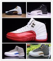 красная удобная обувь оптовых-NIKE Air Jordan 12 Retro Новый 12 XII тренажерный зал Red Bulls мужская баскетбольная обувь мужской 12S спортивный дизайнер кроссовки удобные тренеры высокое качество размер 7-13
