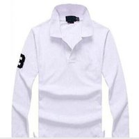 sıcak polo gömlek ince toptan satış-2018 Yeni sıcak satış Polo Gömlek Erkekler Büyük küçük At Katı Uzun Kollu Yaz Rahat Polo Erkek Ince Polos Rahat Gömlek
