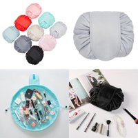 Wholesale folding up beds for sale - Group buy Lazy Drawstring Cosmetic Bag Large Capacity Travel Portable Makeup Bags Cartoon Make Up Pouch Colors