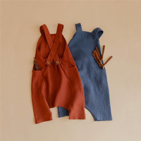 Wholesale french terry jumpsuit for sale - Group buy INS New Summer Toddler Baby Girls Overalls Rompers INS Linen Cotton Square Collar Sleeveless Blank Jumpsuit Kids Bodysuit Baby Romper M