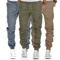taschen mens kampfhosen großhandel-2019 Men Many Pockets Cargo Pants Lässige Jogger Einfarbige Hosen Herrenhosen City Tactical Combat Military Pants