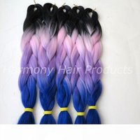Wholesale ombre xpression braiding hair resale online - Kanekalon synthetic Braiding Hair inch g Black Red Yellow White Ombre four tone color xpression Jumbo Braid hair extensions colors