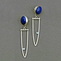 синие броши оптовых-Boho Tribal Металл Pin Брошь Hollow мотаться серьги Минималистского круглого круга темно-синей Смола камень Женщина серьга Brincos P3D238