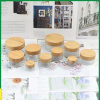 glaspflegebehälter groihandel-5g 15g 30g 50g 100G leeren Mattglas-Glas-Topf mit Bambus Deckel Skin Care Augencreme Maske kosmetische Behälter Nachfüllflasche
