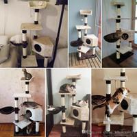 casa de gato de madera al por mayor-Entrega doméstica H139cm Juguetes para gatos Casa de gato Gatito Cama Bolas colgantes Árbol Muebles para mascotas Rascadores Madera para gatos Marco de escalada