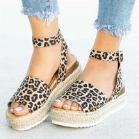 sandálias de sandálias de plataforma wedges venda por atacado-Laamei Cunhas Sapatos Para As Mulheres Sandálias Plus Size Sapatos De Salto Alto Sapatos De Verão Listras Leopardo Chaussures Femme Sandálias De Plataforma 2019 GMX190705