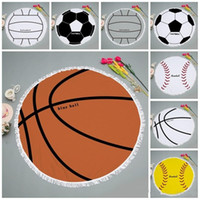 Wholesale use compressed towel for sale - Group buy Sports Football Style Bath Towel Round Softball Volleyball Basketball Comfortable Washcloth For Beach Use Non Slip Yoga Mats jm Zkk