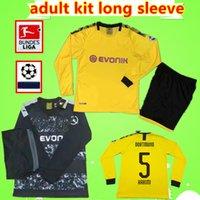 kit de fútbol amarillo negro al por mayor-BVB Borussia Dortmund kit de adultos largo de la manga 19 20 jerseys del fútbol del juego del Mens 2019 2020 Hogar amarillo camisetas de fútbol de distancia negro establece REUS