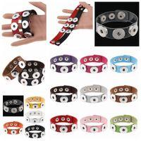 Wholesale pu bracelets snap for sale - Group buy 14styles Button Bracelet Bangles PU leather Bracelets For Women Snap Button Jewelry kids toy gift party favor DIY fashion decor FFA1397