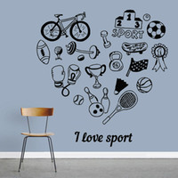 Wholesale bicycle decor for home resale online - I Love Sport Wall Sticker Boys Room Bowling Tennis Bicycle Vinyl Wall Decal Exercise Room Home Decor For Living Room