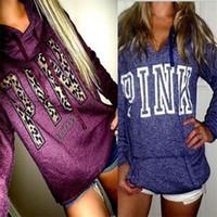 frauen hoodie druck großhandel-Winter-Frauen-Rosa-Liebes-Pullover-Sweatshirt mit der Kleidung der Drucklangärmeligen Frauen zufälliger Designer-Kapuzenpulli-Sweatshirts übersteigt die Kleidung