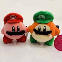 kirby doldurulmuş oyuncaklar toptan satış-Çocuklar Kechain Dekorasyonu için Mario ve Kirby Peluş Exlusive Mario Kirby Peluş Oyuncak Yeşil Red Hat Kirby Peluş Bebek Hediyeleri Oyuncaklar