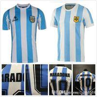 Wholesale best quality in stock Argentina Maradona home Soccer jersey Retro Version Maradona CANIGGIA Quality Football Shirt Batistuta