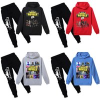 Wholesale Kids Cartoon Hooded Suits Colors Fortnite Printed Letter Game Character BATTLE ROYALE Cotton Blends Elastic Pants Clothing Sets