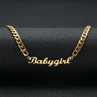 Wholesale jewelry babies resale online - Personalized Custom Name Necklace Stainless Steel Statement Pendant Necklace Custom Baby girl Name Jewelry For Women Gift