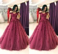 Wholesale hand picture flowers resale online - Luxury D Appliques Quinceanera Dresses Hand Made Flowers Off Shoulder Sweep Train Tulle Party Prom Gown For Sweet Plus Size Vestido