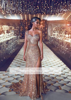 Wholesale sequined dresses online - Sparkly Sexy One Shoulder Mermaid Prom Dresses Long Sequined Side Split Plus Size Formal Dresses Evening Wear Robe de mariée en dentelle