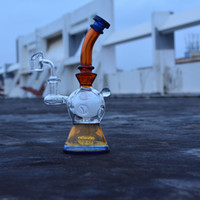 Wholesale dab bongs for sale resale online - 8 Inch heady glass dab rig Glass water pipe fab egg bong for sale amber oil rig bubbler