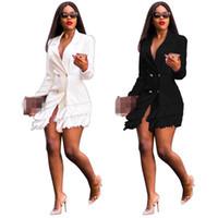 peito de senhoras negras venda por atacado-Os mais recentes Mulheres elegantes Tassel design mangas compridas Blazer Coats trespassado V Neck Moda Office Lady Coats Black White