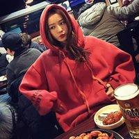 jaqueta de moletom com capuz de caxemira feminina venda por atacado-Fabricantes atacado outono 2019 versão coreana harajuku cashmere hoodie das mulheres do pulôver solta com capuz hoodie das mulheres