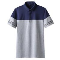 серые мужские рубашки поло оптовых-Men's Casual Lapel Contrast Color  Shirt Patchwork Golf Shirt -Blue gray,Gray white -M L XL 2XL 3XL