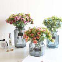 dekoratif gül tomurcukları toptan satış-Yapay Çiçekler İpek Gül Düğün Doğum Günü Dekorasyon Nar Tomurcuk Çiçekler Renkli DIY Dekoratif Çiçek