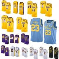 70df61d56 Lakers 23 LeBron James Jersey 8 24 Kobe Bryant 14 Brandon Ingram 2 Lonzo  Ball Men Basketball Jerseys