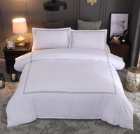 king taies d'oreiller blanc achat en gros de-Ensemble de literie de couleur unie blanche, 3 pcs, housse de couette, drap de lit avec taie d'oreiller queen-size