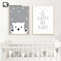 fotos de dibujos animados de bebés al por mayor-Baby Nursery Wall Art Canvas Poster Print Rabbit Bear Cartoon Cartoon Nordic Kids Decoración Imagen Niños Dormitorio Decoración