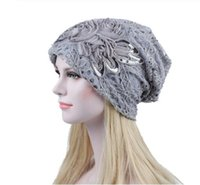 Wholesale cancer beanies for sale - Group buy Women Lace Flower Slouchy Baggy Head Cap Chemo Beanie Cancer Hat Turban Ms lace month warm chemotherapy hat cappello donna GB1331