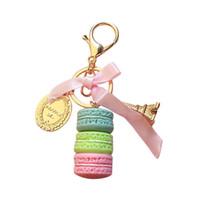 monederos de aleación al por mayor-Lindo Titular Macaron Cake colgante de la llave del coche de Keychain del anillo de la aleación del monedero del bolso accesorio Nueva