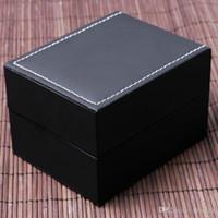 almohadillas de espuma negra al por mayor-Organizador de caja de joya de reloj de cuero negro de lujo con pequeñas cajas de regalo de almohadilla de espuma