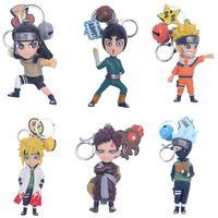 Wholesale naruto keychain anime resale online - 6pcs set Fashion Anime Naruto Keychain Figure Toy Sasuke Kakashi Sakura Gaara Itachi Obito Madara Model Keychain Kids Toys