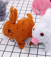 coelhos saltando venda por atacado-Coelho elétrico de pelúcia coelho emissor de luz vai pular para chamar simulação coelho fabricante de brinquedo emissor de luz fornecimento por atacado